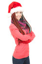 Happy trendy girl with tresses in christmas hat Royalty Free Stock Photo