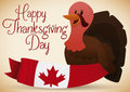 Happy Turkey with a Canadian Ribbon Celebrating Thanksgiving Day, Vector Illustration