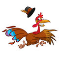Happy turkey cartoon running. Vector cartoon.
