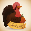 Happy Turkey with Pumpkin and Thanksgiving Ribbon, Vector Illustration