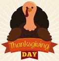 Happy Turkey with Ribbons for Thanksgiving Day in Flat Style, Vector Illustration