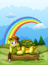 A happy turtle above log and the rainbow in sky Royalty Free Stock Photo