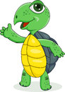 Happy turtle cartoon with hand waving Royalty Free Stock Photo