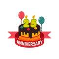 Happy twenty fifth birthday badge vector icon. Royalty Free Stock Photo
