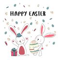 happy two bunny with eggs, happy Easter card