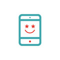 Happy user face red icon vector illustration. Royalty Free Stock Photo