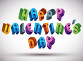 Happy valentine's day greeting phrase made with d retro style geometric letters Stock Image