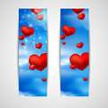 Happy valentine's day banners with red hearts on the sky background Royalty Free Stock Image