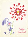 Happy valentine bunny with large flower of hearts Stock Images