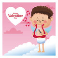 Happy valentine day cupid sing music harp note music