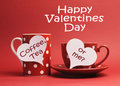 Happy Valentine Day message with Coffee, Tea or Me? written on white heart sign tags Royalty Free Stock Photo