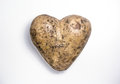 Happy valentine day potato greeting card. Heart on white background Royalty Free Stock Photo