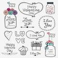 Happy Valentine Day. Set Of Vintage Retro Valentine Day Labels And Typography Elements.