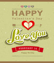 Happy valentine message banner design on recycled paper background illustration Royalty Free Stock Images