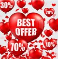 Happy Valentine's Day background with big sale balloons in form of heart Royalty Free Stock Photo