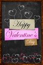 Happy valentine s day on blackboard simple card paper dark background Royalty Free Stock Photography