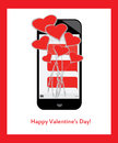 Bouquet of hearts and love from text messages on mobile / cell phone Royalty Free Stock Photo