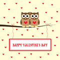 Happy valentine s day brown owls in love on yellow background Royalty Free Stock Photo