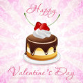 Happy valentine s day card with cake and pink background Royalty Free Stock Images