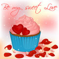 Happy Valentine`s Day card with cupcake, pearls and rose petals. Royalty Free Stock Photo