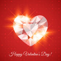 Happy valentine s day card with diamond heart shaped Stock Image
