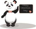 Happy Valentine's Day Card with panda bear