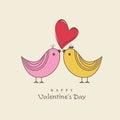 Happy Valentines Day celebration with cute love bird.