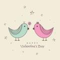 Happy Valentines Day celebrations with love birds.