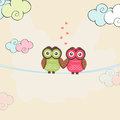 Happy valentine s day celebrations with owl couple cute in love holding hands together on colorful clouds background for Royalty Free Stock Photos