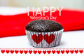 Happy valentine s day choccolate babana cup cake Stock Photo