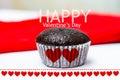 Happy valentine s day choccolate babana cup cake Stock Photo