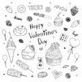 Happy Valentine`s Day doodle set. Desserts sketch for Valentine`s Day. Cupcake, cookie, candy, chocolate, cake, strawberry, treats Royalty Free Stock Photo