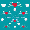 Happy Valentine`s Day Greeting Card on blue background.