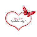 Happy valentine s day greeting card with ruby butterfly Stock Images