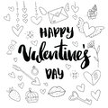 Happy Valentine`s day. Hand drawn brush pen lettering on gold and silver glittering hearts background. design for
