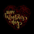 Happy Valentine`s day Hand drawn calligraphy and brush pen lettering on black and red floral heart.