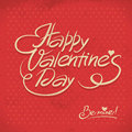 Happy valentine s day hand lettering in retro style Royalty Free Stock Image