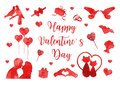 Happy Valentine`s Day icon set of watercolor silhouettes. Cute romance love collection of design elements with heart