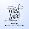 Happy valentine s day with love beautiful text card design Royalty Free Stock Image