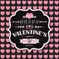 Happy Valentine's Day - on pink heart seamless pattern background Royalty Free Stock Photo