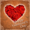 Happy valentine s day red roses vintage card Royalty Free Stock Images