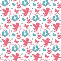 Happy Valentine`s Day seamless pattern. Cute romantic love endless background. Cupid, heart repeating texture. Vector