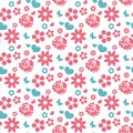 Happy Valentine`s Day seamless pattern. Cute romantic love endless background. Heart, flowers repeating texture. Vector