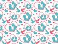Happy Valentine`s Day seamless pattern. Cute romantic love endless background. Heart repeating texture. Vector