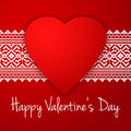 Happy Valentine`s day vector card. With ethnic border white stripe and big red heart.