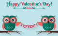 Happy Valentine's Day! Vector greeting card with flat owls. Royalty Free Stock Photo