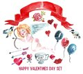 Happy Valentine`s Day watercolor set. Cupid with bow and arrows, small birds, red ribbon, a cup with an inscription hugs and