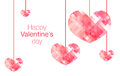 Happy Valentine's Day word with hanging pink polygon heart on wh