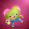 Happy valentines card with zombie heart love vector illustration Stock Image