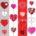 Happy Valentines Day background and striped seamless texture with the Hearts.